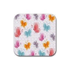 Butterfly Pattern Vector Art Wallpaper Rubber Square Coaster (4 Pack)