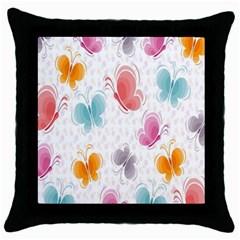 Butterfly Pattern Vector Art Wallpaper Throw Pillow Case (black)