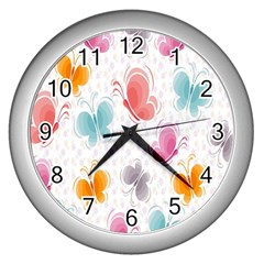 Butterfly Pattern Vector Art Wallpaper Wall Clocks (silver)