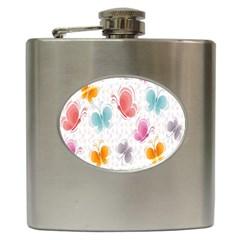Butterfly Pattern Vector Art Wallpaper Hip Flask (6 oz)