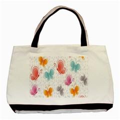 Butterfly Pattern Vector Art Wallpaper Basic Tote Bag