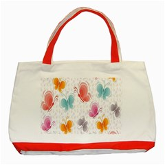 Butterfly Pattern Vector Art Wallpaper Classic Tote Bag (red)