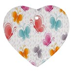 Butterfly Pattern Vector Art Wallpaper Heart Ornament (Two Sides) Front