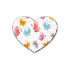 Butterfly Pattern Vector Art Wallpaper Heart Coaster (4 Pack)