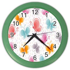 Butterfly Pattern Vector Art Wallpaper Color Wall Clocks