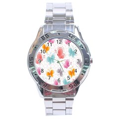 Butterfly Pattern Vector Art Wallpaper Stainless Steel Analogue Watch