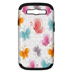 Butterfly Pattern Vector Art Wallpaper Samsung Galaxy S III Hardshell Case (PC+Silicone)