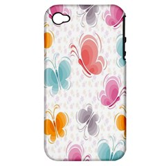 Butterfly Pattern Vector Art Wallpaper Apple iPhone 4/4S Hardshell Case (PC+Silicone)