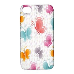 Butterfly Pattern Vector Art Wallpaper Apple Iphone 4/4s Hardshell Case With Stand
