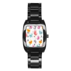 Butterfly Pattern Vector Art Wallpaper Stainless Steel Barrel Watch