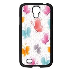 Butterfly Pattern Vector Art Wallpaper Samsung Galaxy S4 I9500/ I9505 Case (Black)
