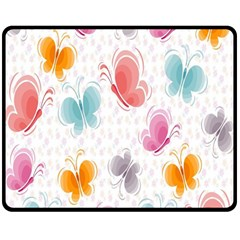 Butterfly Pattern Vector Art Wallpaper Double Sided Fleece Blanket (Medium)