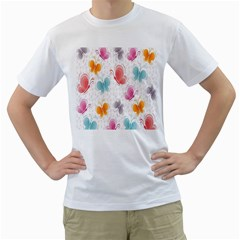 Butterfly Pattern Vector Art Wallpaper Men s T-Shirt (White)