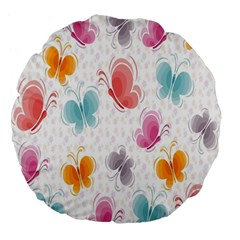 Butterfly Pattern Vector Art Wallpaper Large 18  Premium Flano Round Cushions
