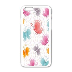 Butterfly Pattern Vector Art Wallpaper Apple Iphone 6/6s White Enamel Case