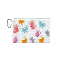 Butterfly Pattern Vector Art Wallpaper Canvas Cosmetic Bag (s)