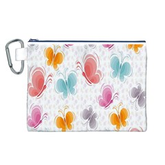Butterfly Pattern Vector Art Wallpaper Canvas Cosmetic Bag (L)