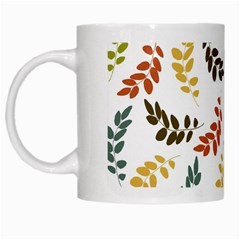 Colorful Leaves Seamless Wallpaper Pattern Background White Mugs