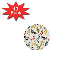 Colorful Leaves Seamless Wallpaper Pattern Background 1  Mini Buttons (10 Pack)