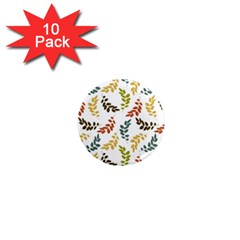 Colorful Leaves Seamless Wallpaper Pattern Background 1  Mini Magnet (10 Pack)