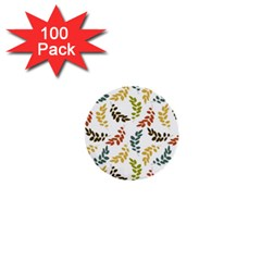 Colorful Leaves Seamless Wallpaper Pattern Background 1  Mini Buttons (100 Pack)