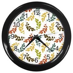 Colorful Leaves Seamless Wallpaper Pattern Background Wall Clocks (black)