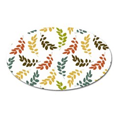 Colorful Leaves Seamless Wallpaper Pattern Background Oval Magnet