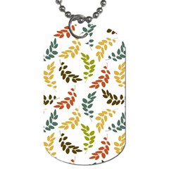 Colorful Leaves Seamless Wallpaper Pattern Background Dog Tag (One Side)