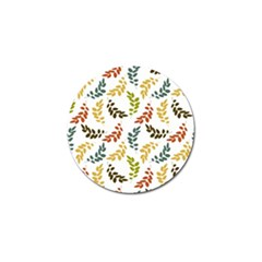 Colorful Leaves Seamless Wallpaper Pattern Background Golf Ball Marker (4 Pack)