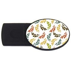 Colorful Leaves Seamless Wallpaper Pattern Background USB Flash Drive Oval (1 GB)
