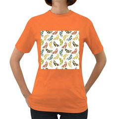 Colorful Leaves Seamless Wallpaper Pattern Background Women s Dark T Shirt