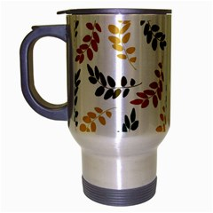 Colorful Leaves Seamless Wallpaper Pattern Background Travel Mug (Silver Gray)