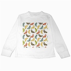 Colorful Leaves Seamless Wallpaper Pattern Background Kids Long Sleeve T-Shirts