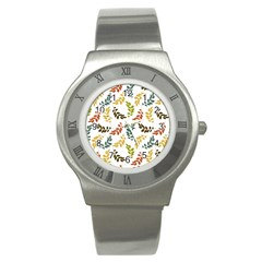 Colorful Leaves Seamless Wallpaper Pattern Background Stainless Steel Watch