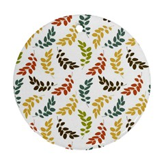 Colorful Leaves Seamless Wallpaper Pattern Background Round Ornament (Two Sides)