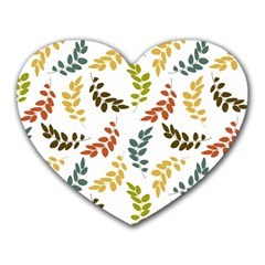 Colorful Leaves Seamless Wallpaper Pattern Background Heart Mousepads