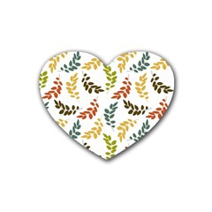 Colorful Leaves Seamless Wallpaper Pattern Background Rubber Coaster (heart)