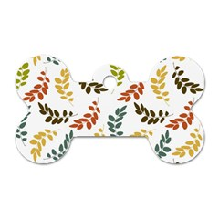 Colorful Leaves Seamless Wallpaper Pattern Background Dog Tag Bone (two Sides)