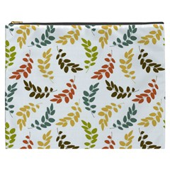 Colorful Leaves Seamless Wallpaper Pattern Background Cosmetic Bag (XXXL)