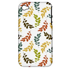 Colorful Leaves Seamless Wallpaper Pattern Background Apple iPhone 4/4S Hardshell Case (PC+Silicone)