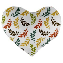 Colorful Leaves Seamless Wallpaper Pattern Background Large 19  Premium Heart Shape Cushions