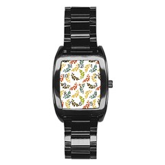 Colorful Leaves Seamless Wallpaper Pattern Background Stainless Steel Barrel Watch