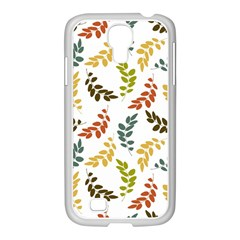 Colorful Leaves Seamless Wallpaper Pattern Background Samsung GALAXY S4 I9500/ I9505 Case (White)