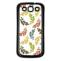 Colorful Leaves Seamless Wallpaper Pattern Background Samsung Galaxy S3 Back Case (Black)