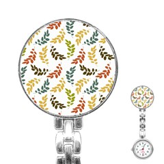 Colorful Leaves Seamless Wallpaper Pattern Background Stainless Steel Nurses Watch