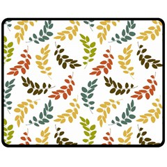 Colorful Leaves Seamless Wallpaper Pattern Background Double Sided Fleece Blanket (Medium)