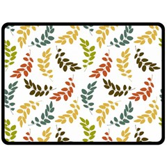 Colorful Leaves Seamless Wallpaper Pattern Background Double Sided Fleece Blanket (Large)