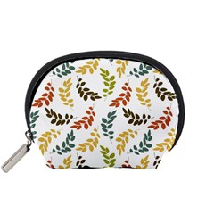 Colorful Leaves Seamless Wallpaper Pattern Background Accessory Pouches (Small)