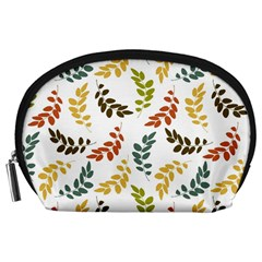 Colorful Leaves Seamless Wallpaper Pattern Background Accessory Pouches (Large)