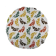 Colorful Leaves Seamless Wallpaper Pattern Background Standard 15  Premium Flano Round Cushions
